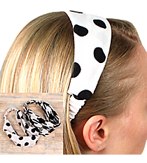 One Wide Black and White Fashion Headband #HWB9502-SHIPS ASSORTED
