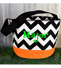 Black Chevron with Orange Trim Bucket Tote #HWO673-ORANGE