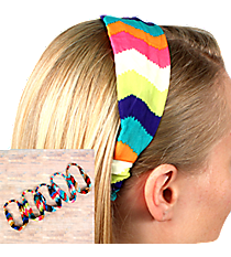 One Wide Multi-Color Electric Chevron Headband #HWR9532-SHIPS ASSORTED
