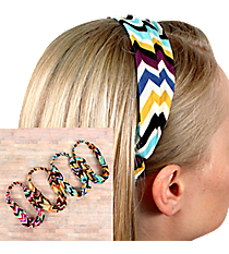One Wide Multi-Color Chevron Headband #HWR9596-SHIPS ASSORTED