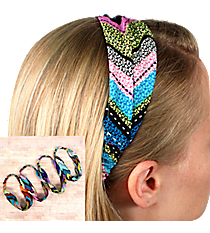 One Wide Multi-Color Dotted Chevron Headband #HWR9604-SHIPS ASSORTED