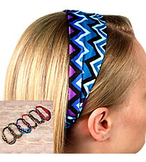 One Wide Multi-Color Chevron Headband #HWR9605-SHIPS ASSORTED