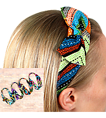 One Multi-Color Dotted Chevron Knotted Headband with Bow #HWR9624-SHIPS ASSORTED