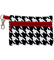 Houndstooth with Crimson Trim Small Zip ID Case #ID-HT