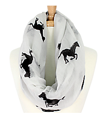 White Horse Print Infinity Scarf #IF0005-W