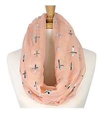 Peach Cross Infinity Scarf #IF0012-SP