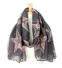 Gray and Pink Starfish Print Scarf #IF0015-MP