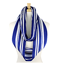 Royal Blue and White Striped Infinity Scarf #IF0017-M