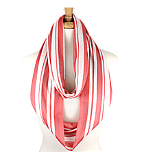 Pink and White Striped Infinity Scarf #IF0017-P