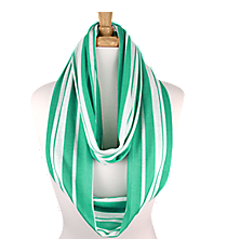 Turquoise and White Striped Infinity Scarf #IF0017-TQ