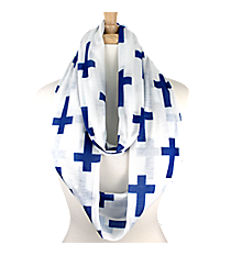 White with Royal Blue Crosses Infinity Scarf #IF0018-M