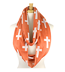 Peach with White Crosses Infinity Scarf #IF0018-PW