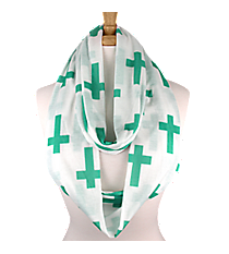 White with Turquoise Crosses Infinity Scarf #IF0018-TQ