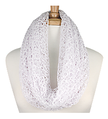 White Woven Infinity Scarf #IF0031-W