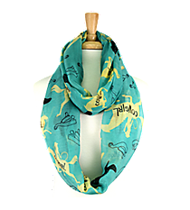 Turquoise Cowgirl Print Infinity Scarf #IF0051-TQ