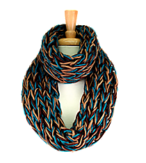 Emerald, Brown, and Tan Chunky Open Weave Knit Infinity Scarf #IF0070-E