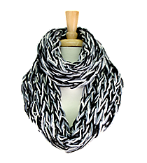 Black, Grey, and White Chunky Open Weave Knit Infinity Scarf #IF0070-J