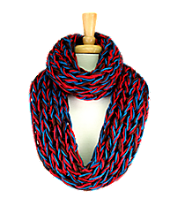 Red, Brown, and Blue Chunky Open Weave Knit Infinity Scarf #IF0070-R