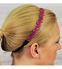 Fuchsia Crystal Accented Flower Headband #IH0015-F