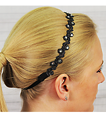 Jet Crystal Accented Flower Headband #IH0015-J