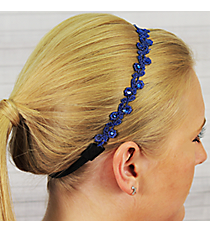Midnight Blue Crystal Accented Flower Headband #IH0015-M