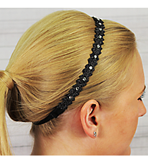Black Crystal Accented Headband #IH0016-J