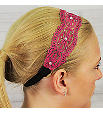 Crystal and Pearl Accented Fuchsia Flowers Headband #IH0017-F