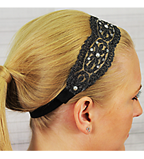 Crystal and Pearl Accented Black Flowers Headband #IH0017-J