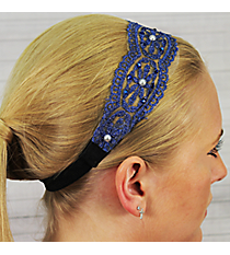 Crystal and Pearl Accented Midnight Blue Flowers Headband #IH0017-M