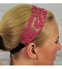 Crystal Accented Fuchsia Flowers Headband #IH0018-F