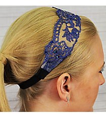 Crystal Accented Midnight Blue Flowers Headband #IH0018-M