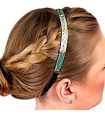 Crystal Accented Multi-Green and White Seed Bead Headband #IH0026-GE