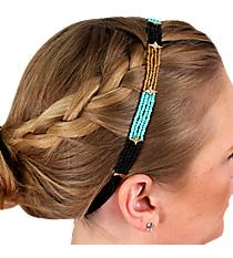 Crystal Accented Turquoise, Black and Gold Seed Bead Headband #IH0026-GTQJ