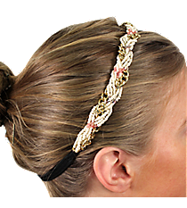 Braided Goldtone Chain and Natural Bead Headband #IH0029-GN