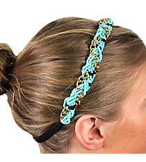 Braided Goldtone Chain and Turquoise Bead Headband #IH0029-GTQJ