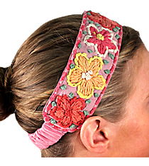 Pink with Woven Flowers Headband #IH0038-P