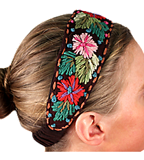 Brown with Woven Flowers Headband #IH0040-B