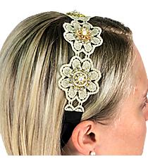 Beaded Lace Flowers Headband #IH0058-GMT
