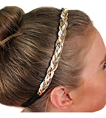 Natural and Goldtone Braided Headband #IH0068-GN