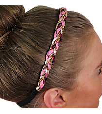 Pink and Goldtone Braided Headband #IH0068-GP