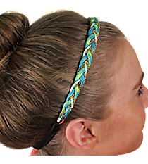Turquoise and Goldtone Braided Headband #IH0068-GTQ