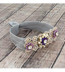 Goldtone and Purple Beaded Gray Hair Tie #IH0072-GAGR