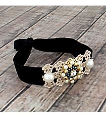 Black, Goldtone, and Pearl Beaded Black Hair Tie #IH0073-GJ