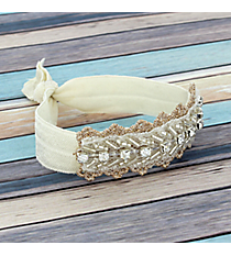 Crystal and Silvertone Beaded Ivory Hair Tie #IH0074-SW