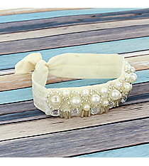 Pearl Beaded Ivory Hair Tie #IH0078-W