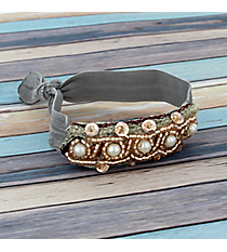 Pearl and Goldtone Beaded Gray Hair Tie #IH0079-NGR