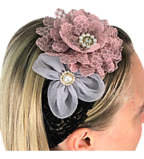 Lavender and Lilac Flowers on Black Lace Headband #IH0087-GMT1