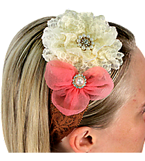 Pink and Ivory Flowers on Brown Lace Headband #IH0087-GMT2