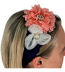 Pink and White Flowers on Navy Lace Headband #IH0087-GMT3