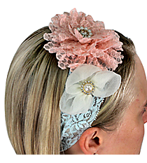 Light Pink and White Flowers on Light Blue Lace Headband #IH0087-GMT5